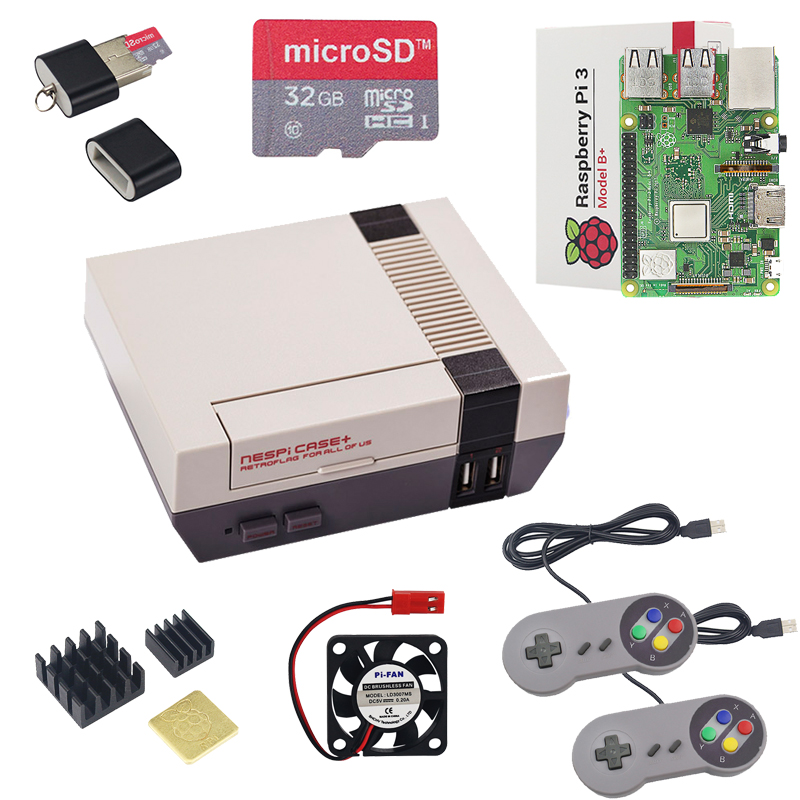New NESPi CASE+ Raspberry Pi 3 Model B+ Kits + 32GB SD Card + 3A Power  Adapter + Heat Sink + 2 Gamepad Controller for Retropie