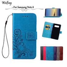 Wolfsay sFor Cover Samsung Galaxy Note 8 Leather Case Note 8 Flip Wallet Case For Samsung