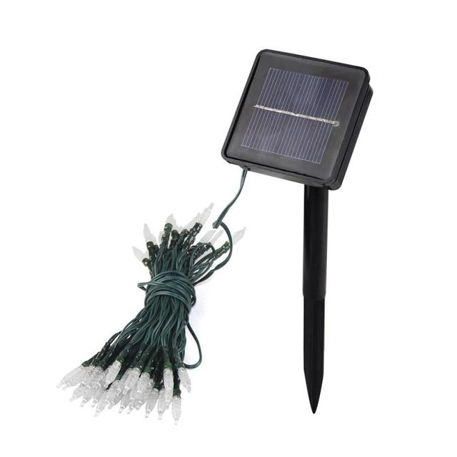 Envío Libre 7.5 M Blanco Bombilla de La Lámpara LED de la Energía Solar 50 Luz de la Secuencia de Hadas de Hielo Para la Fiesta de Navidad de La Boda Jardín decoración