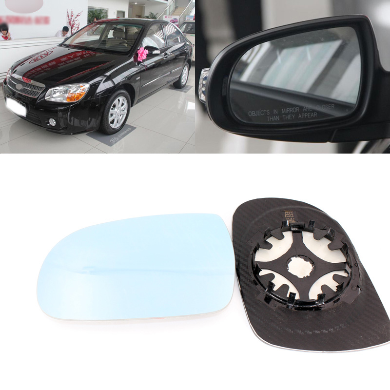 For KIA Cerato 2006-2014 Side View Door Mirror Blue Glass With Base Heated 1 Pair