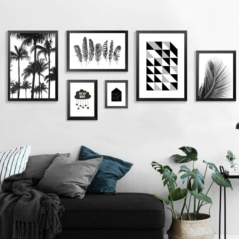 Nordic minimalist black white canvas painting prints wall for Black and white mural prints