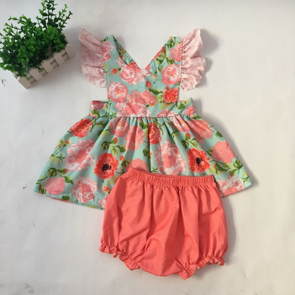 Puresun Girl Summer Floral Sets O-neck Ruffles Sleeveless Backless string Vest Flower Dress With Pink Bloomers Shorts Puresun Girl Summer Floral Sets O-neck Ruffles Sleeveless Backless string Vest Flower Dress With Pink Bloomers Shorts