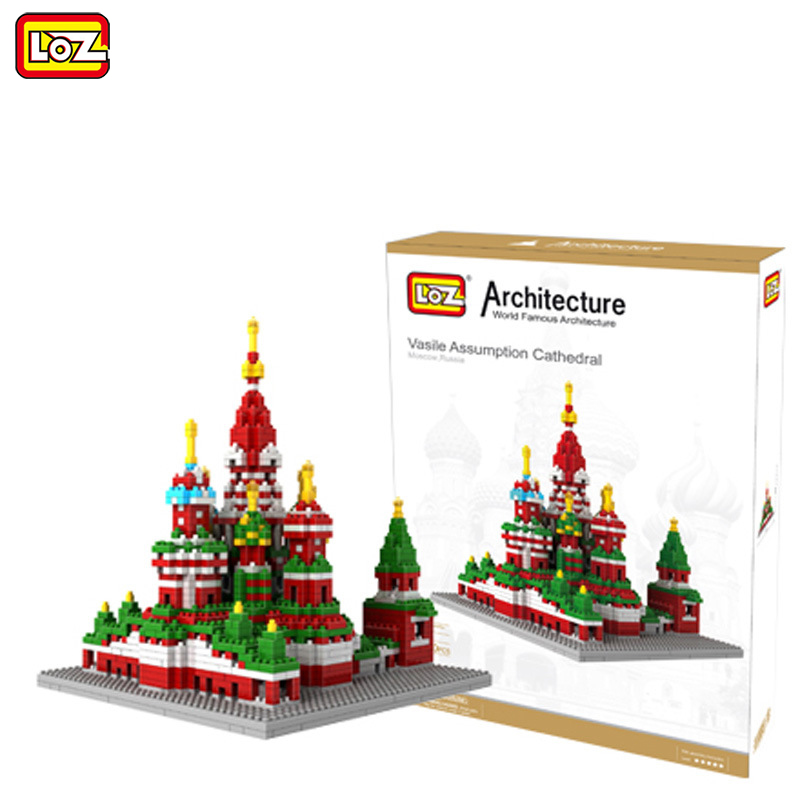 LOZ Diamond Blocks Famous Architecture 1860pcs Saint Basil's Cathedral  Building Blocks Model Toy for Children City Brick 9375 hot toys nanoblock world famous architecture statue of liberty building blocks mini construction brick model iblock fun for kid