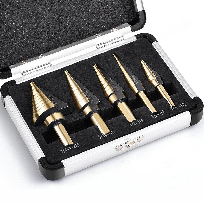 Высокое качество 5 шт. HSS Кобальт несколько отверстий 50 размеров набор ступенчатых сверл 1/4 дюйма и 3/8 дюйма Shanks, титановые ступенчатые сверла