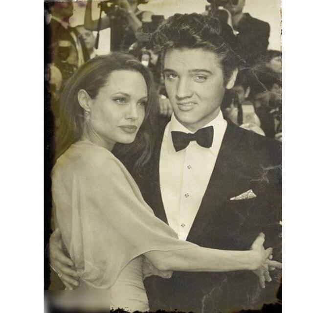 الفيس بريسلي و أنجلينا جولي اللوحة الماس فسيفساء صورة مربع كامل من حجر الراين الماس التطريز تطريز