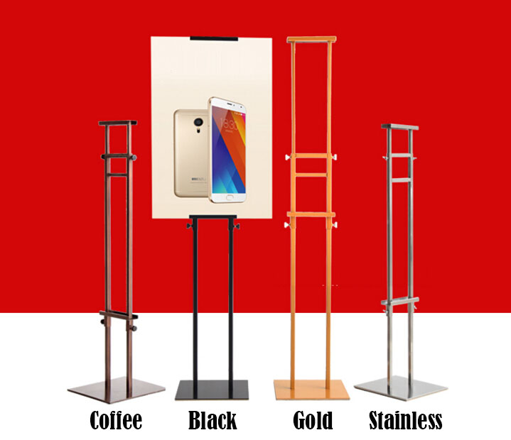 Exhibition Stand Height : Double sides pop adjustable height metal poster stand