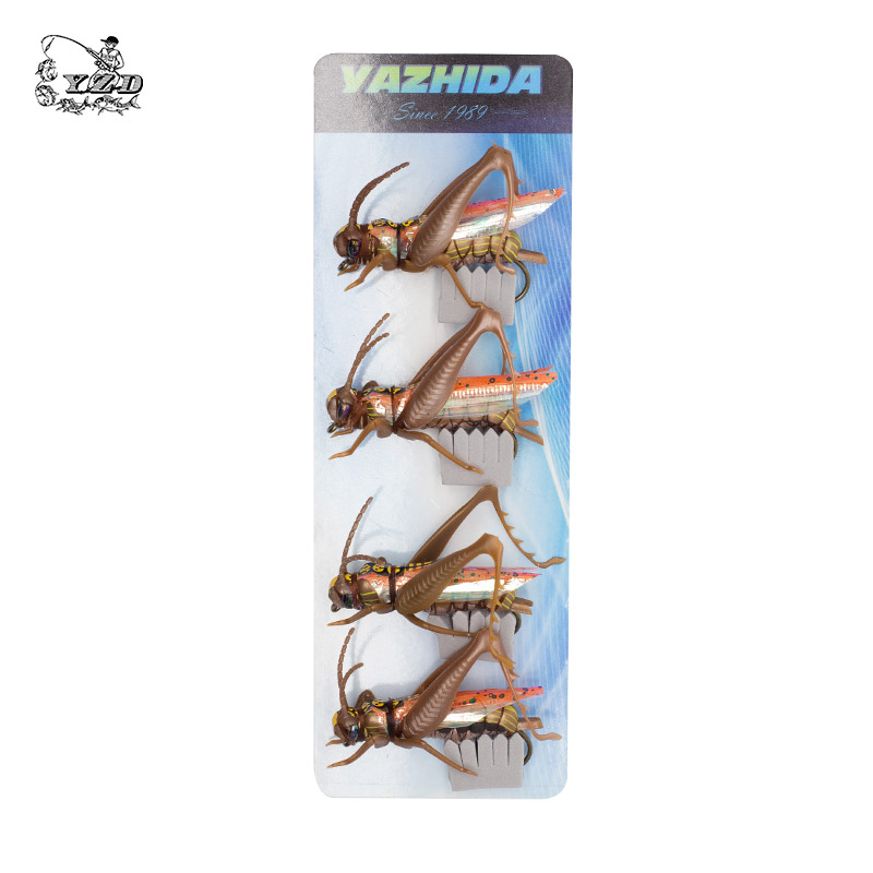 Grasshopper Cricket Dry Fly Fishing Fluer Set 4PCS kit Fluer Tynger - Fiskeri - Foto 6