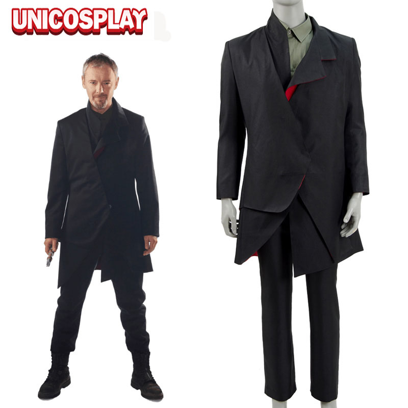 Doctor Who S10 The Doctor Falls The Masters Black Coat Suit Cosplay Costume Long British Outwear Trouser&Green Vest Full Set