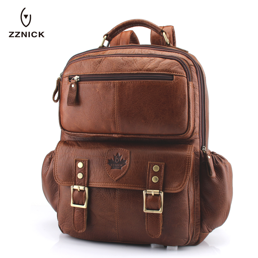 цены ZZNICK Multi-functional Genuine Leather Men Backpacks Male Messenger Women Backpack female Schoolbag back pack Backpacks
