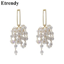Korean Elegant Crystal Beads Tassel Long Drop Earrings For Women Clear Handmade 2019 New Earrings Jewelry недорого