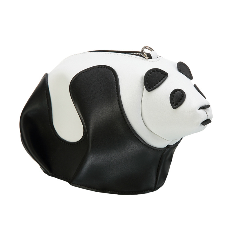 Cute oval bears Genuine Leather women bag Korean black and white hit color Panda women messenger bags womens wallets and purses stylish women s hit color spaghetti strap blouse
