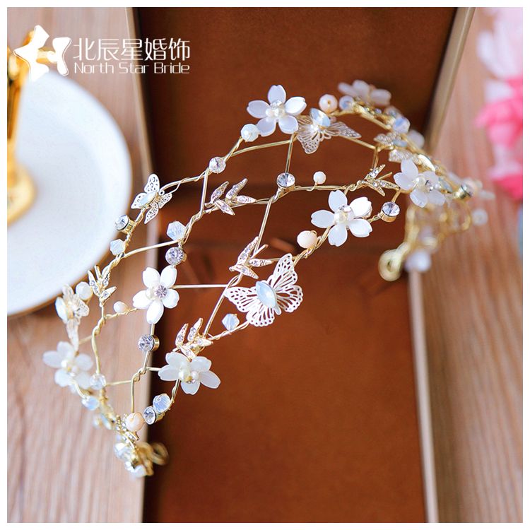 Korean Contracted crystal bride hair hoop beautiful butterfly flower pale golden hair ornaments headdress pince cheveux femme