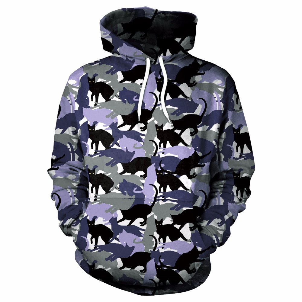 2017 new fashion Cool sweatshirt Hoodies Men women 3D print Funny Black white shadow cat hot Style Streetwear Long sleeve cloth
