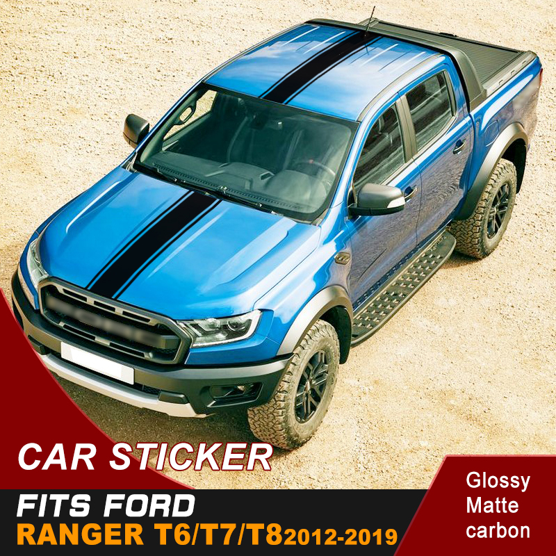free shipping side body sticker box bed graphic vinyl and tail door car sticker racing stickerfor Ford ranger T6 T7 T8 in Car Stickers from Automobiles Motorcycles