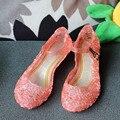 2016 детская обувь Розничная Принцесса Эльза летние обувь для девочек детские сандалии отверстие кристалл партия танцевальная обувь 3 цвета бесплатная доставка