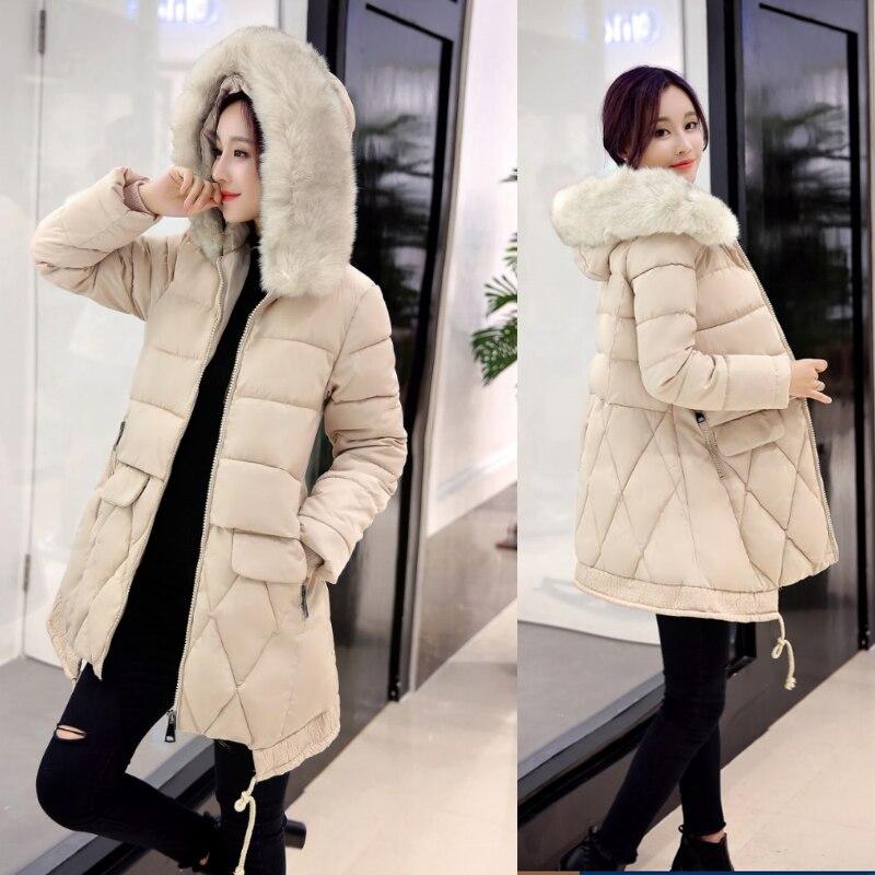 2016 New Winter Jacket Women Hooded Slim Coat Female Fashion Warm Outwear Cotton Padded Long Wadded