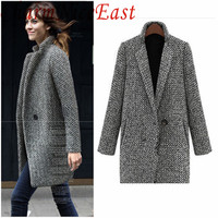 elegant women winter wool coats grey warm cotton trench laides velvet thick jacket long outwear overcoat