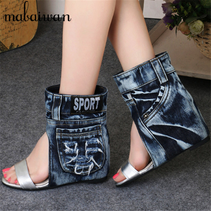 Fashion Women Summer Boots Denim Sandals Peep Toe Ankle Botas High Heels Gladiator Wedge Shoes Woman
