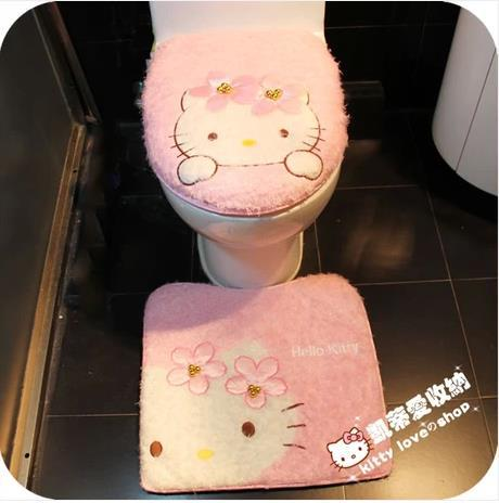 Hello Kitty Wc Bril.Us 15 6 3 Stks Set Hello Kitty Wc Driedelige Set Cartoon Roze Pluche Toiletbril Cover Potje Pads Toilet Seat Cover Badkamer Mat Set In 3 Stks Set