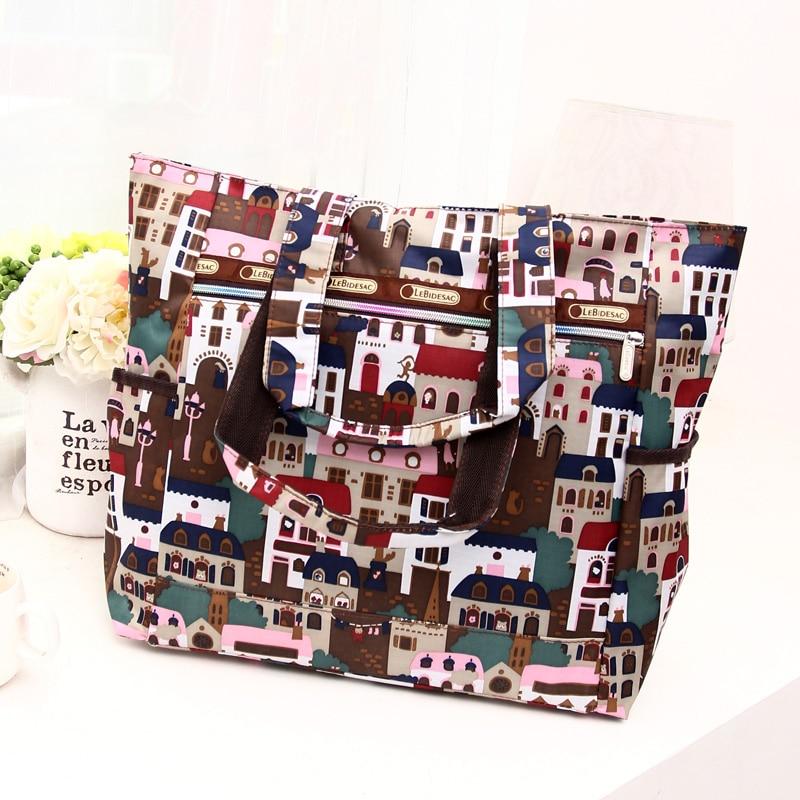 Corea 2016 nueva primavera ocasionales bolsas de hombro moda patrón de nylon de gran capacidad bolsos