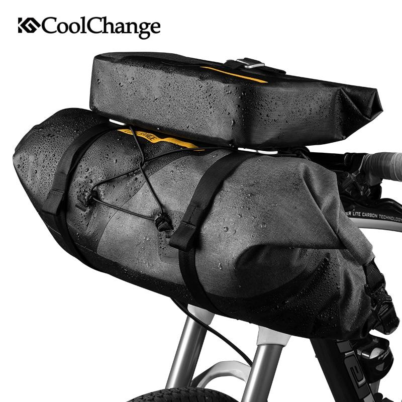 CoolChange Sacchetto Della Bici Esterno Impermeabile In Nylon Tubo della Parte Anteriore Del Manubrio Ciclismo Sacchetto di Sport di Grande Capacità Cestino Della Bicicletta Accessori