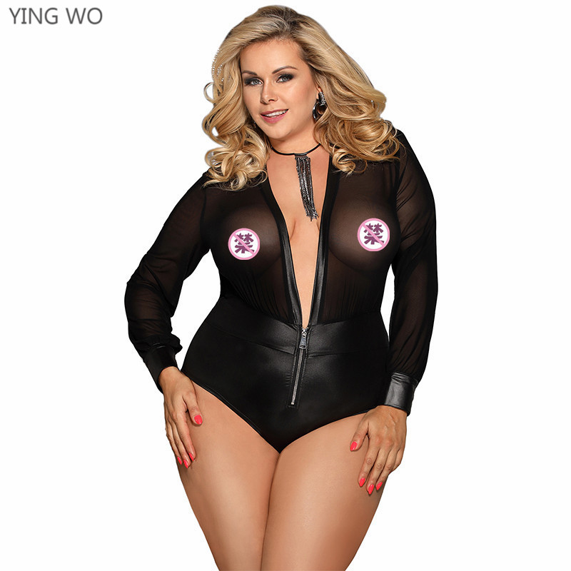 Black Sheer Mesh Long Sleeve Skinny Bodysuit Plus Size Women Fashion Hot Sexy See Through Front Zipper Down Deep V Neck Teddies