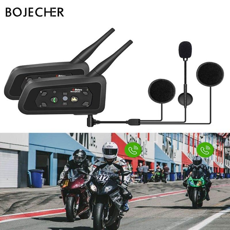 BOJECHERE 1 pièces V6 Multi BT Interphone casque moto Bluetooth casques Interphone casque haut-parleur pour 6 coureurs MP3 GPS