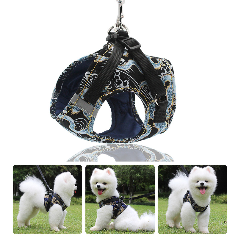Chinese Dragon Print Dog Harness Vest Reflective No Pull Dog Harness for Large Medium Small Dogs Nylon Harnesses and Leash Set in Harnesses from Home Garden