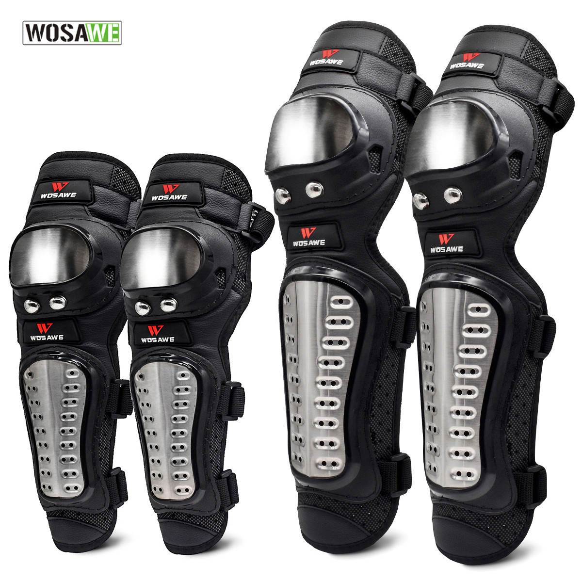 WOSAWE 4Pcs/Set  Elbow & Knee Pads Stainless Steel Motorcycle Motocross Protective Gear Protector Guards Sports Armor KitWOSAWE 4Pcs/Set  Elbow & Knee Pads Stainless Steel Motorcycle Motocross Protective Gear Protector Guards Sports Armor Kit