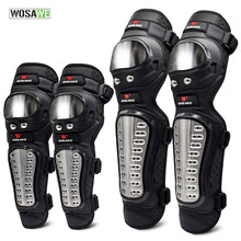 WOSAWE 4Pcs/Set Elbow Knee Pads Stainless Steel Motorcycle Motocross Protective Gear Protector pad Guards Sports Armor Kit