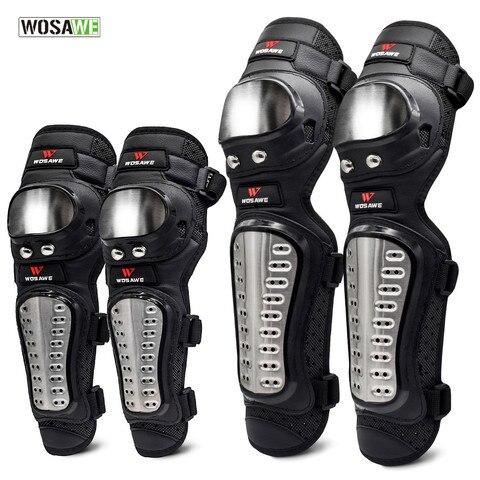 Equipamentos de Proteção Protetor de Joelho Wosawe Aço Inoxidável Cotovelo Knee Pads Motocicleta Motocross Armadura Pad Guardas Esportes Kit 4 Pçs – Set