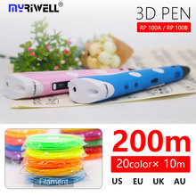 myriwell 3d pen with LED screen 1.75mm abs filament pla plastic 3d printed pen 3 d pen Smart Child birthday gift Toys  3D handle