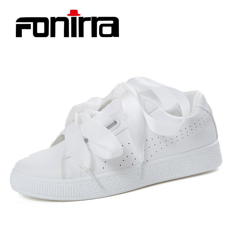 FONIRRA Spring Autumn Sneaker Women Shoes White Ribbon Lace Up Student Shoes Comfortable PU Leather Flat Shoes For Ladies 077 cheap hot women shoes 2018 summer women flat white shoes comfortable breathable super soft pu leather lace ladies casual shoes