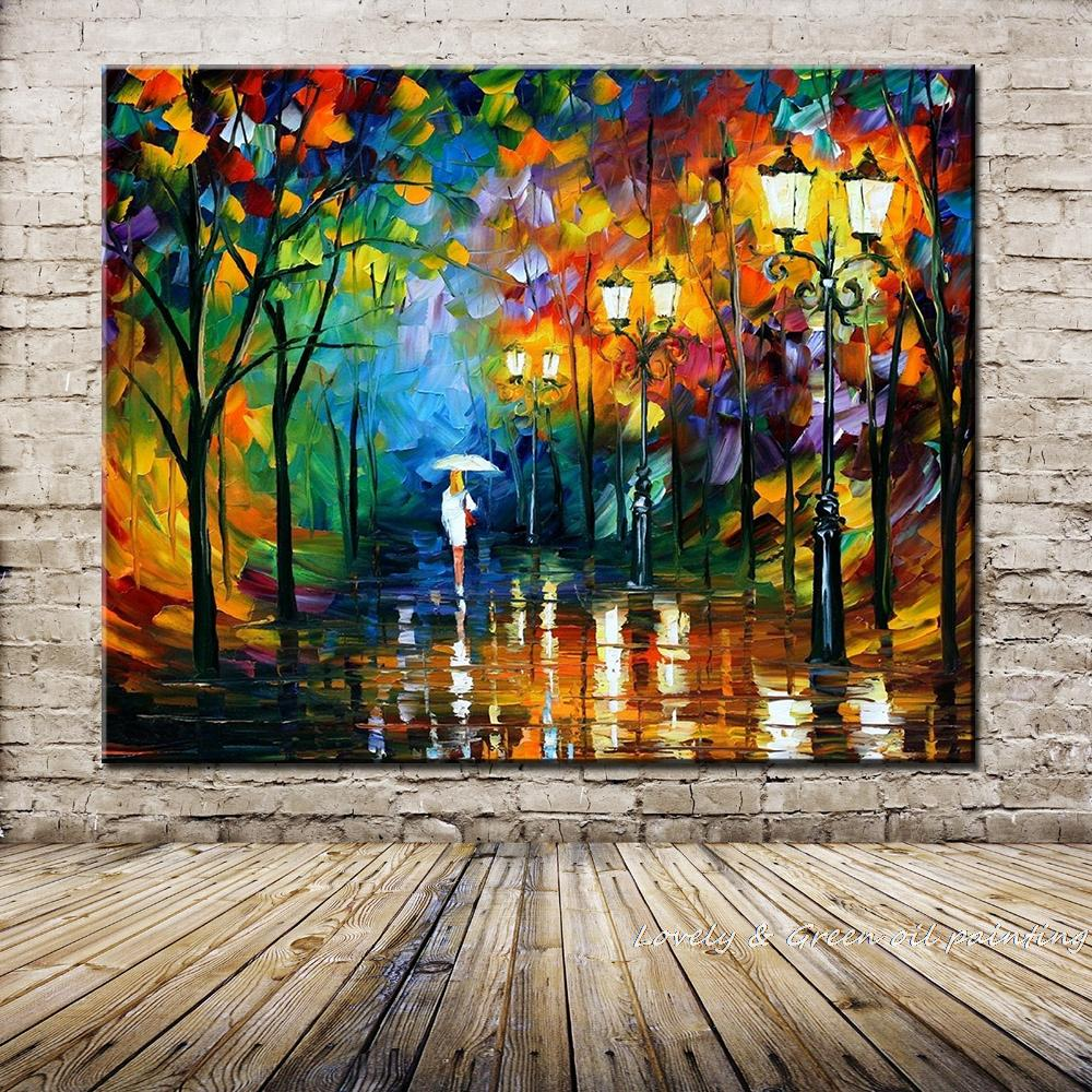 Bright Colours Painting Us 23 2 20 Off Hand Painted Landscape Oil Painting Palette Knife Thick Paint Bright In Colour Modern Home Canvas Living Room Decor Art Picture In
