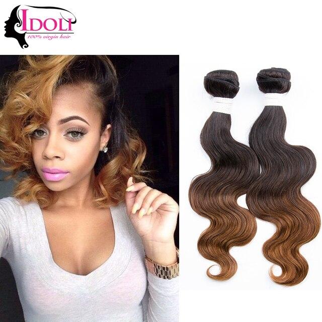 7a Grade Brazilian Short Hair 3 Bundles T1b30 Colored Two Tone Hair
