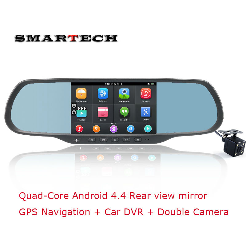 Android 4.4 Quad Core Rearview Mirror Camera 5inch capactive touch screen Car DVR GPS Navigation G sensor rear view camera input