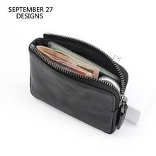 محافظ صغيرة النساء الطبقة الأولى جلد البقر الرجال محفظة للعملة Vintage تغيير محفظة صغيرة حقيبة أموال محفظة بطاقة الائتمان حقيبة المال