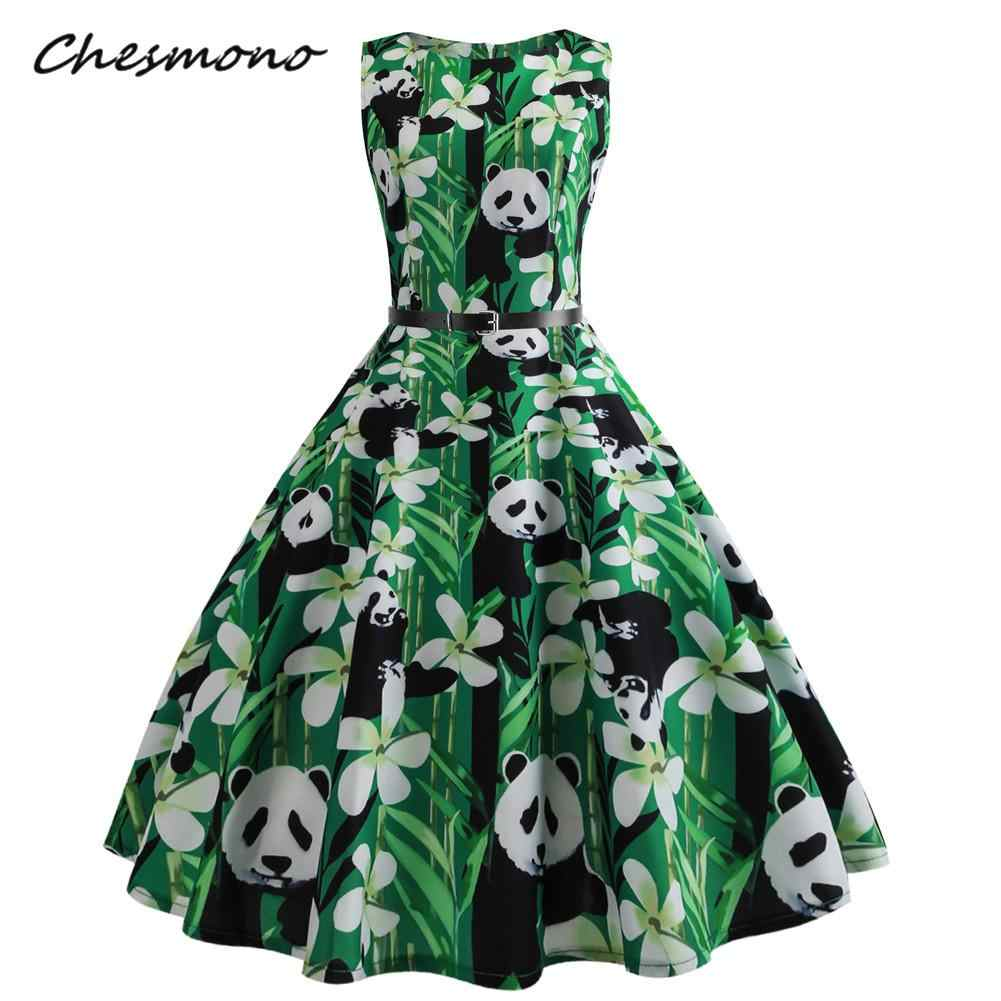c5ba6192b60 Fashion Retro Hepburn 50s Summer Autumn Dress Women Vintage Panda Printed  Dress Plus Size Dresses Princess