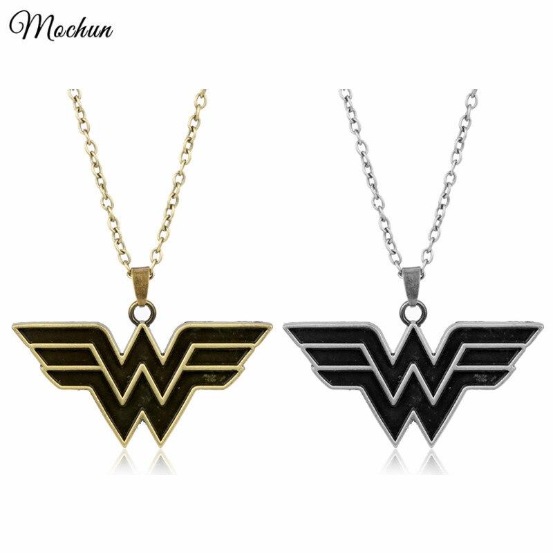 Оптовая Marvel Super Hero Wonder Woman себе цепи Цепочки и ожерелья Винтаж Серебро Бронза Цвет кулон ювелирные изделия Новинка 2017 года поступления