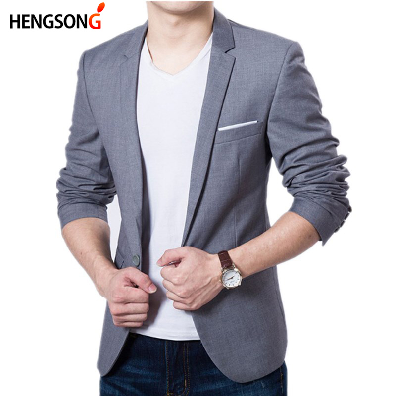 HENGSONG Men's Slim Fit Cotton Blend Suit New Black Blue Gray Wedding Party Prom Smoker Smoking Takers Casual Men's Work Wear