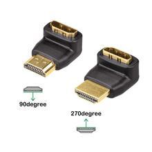Kabel adapter HDMI konwertery 90/270 stopni kąt HDMI wtyk męski do HDMI żeński konwerter dla 1080P HDTV PC adapter HDMI