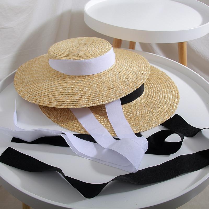 01811-HH7208 Summer Natural Handmade  0.7-0.8cm Fine Straw Leisure Beach LONG Ribbon Lady Fedoras STRAW Cap  Women PAPER Hat
