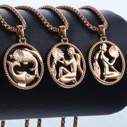 Signe du zodiaque 12 Constellation pendentif collier pour femmes hommes 585 or Rose femmes collier hommes chaîne cadeau bijoux de mode GPM21