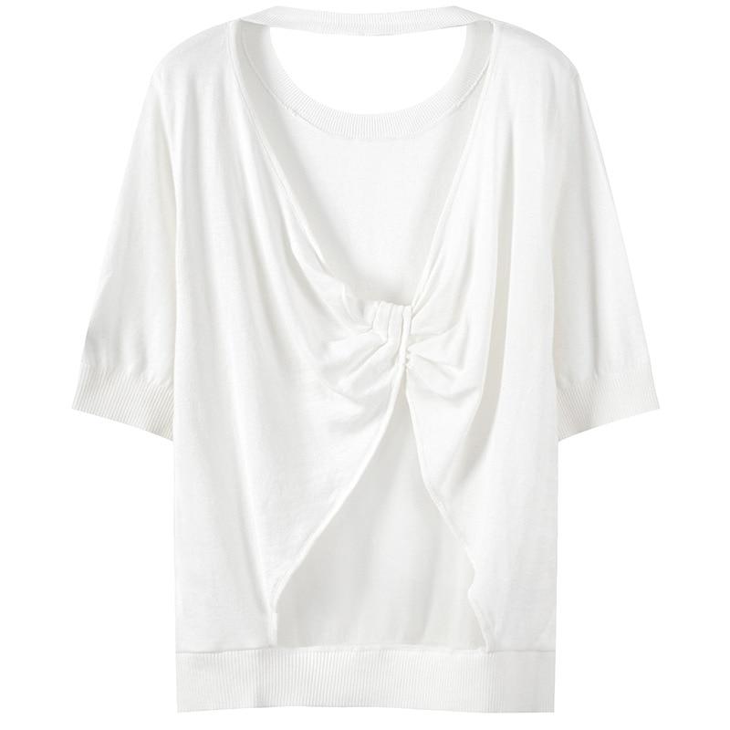 Noir blanc T-Shirt femmes Sexy trou arrière tricoté T-Shirt chaud forage broderie été t-shirts pull Slim demi manches pulls
