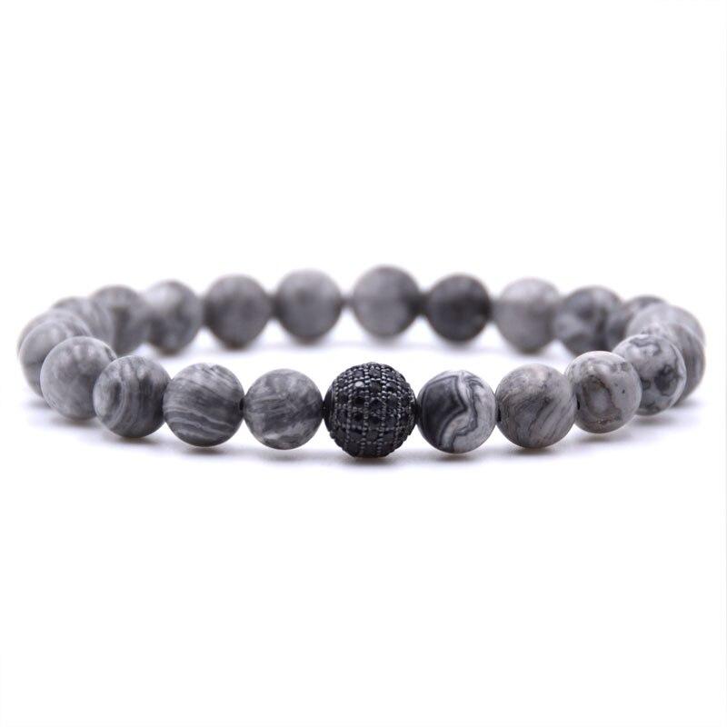 KANGKANG classic Natural Stone Gray Bead Bracelet 4 color metal ball Micro inlay Zirconia bracelet men women charm Jewelry 2018