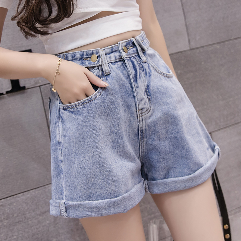 2018 summer new loose, thin, curled, high waist, wide legged, legged jeans shorts