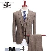 Plyesxale Brand Khaki Suit Men 2018 New Arrival Slim Fit Wedding Suits For Men High Quality Men's Business Casual Suit Q501