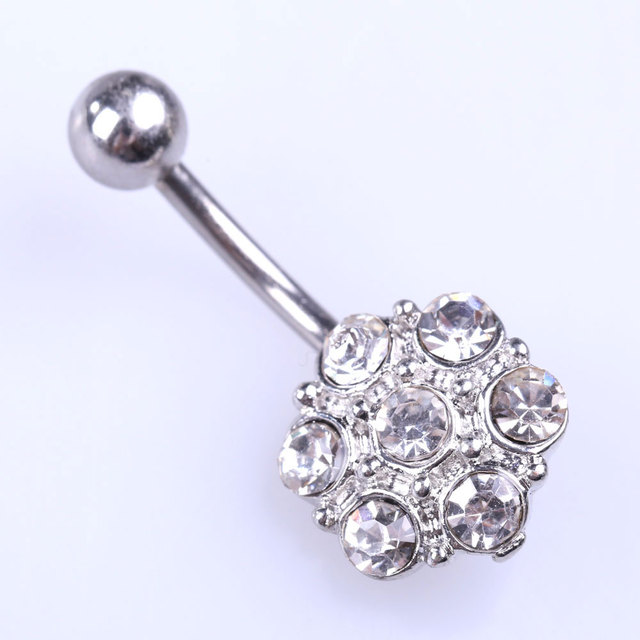 Alloy Crystal Flower Pendant Woman Belly Button Ring Body Jewelry