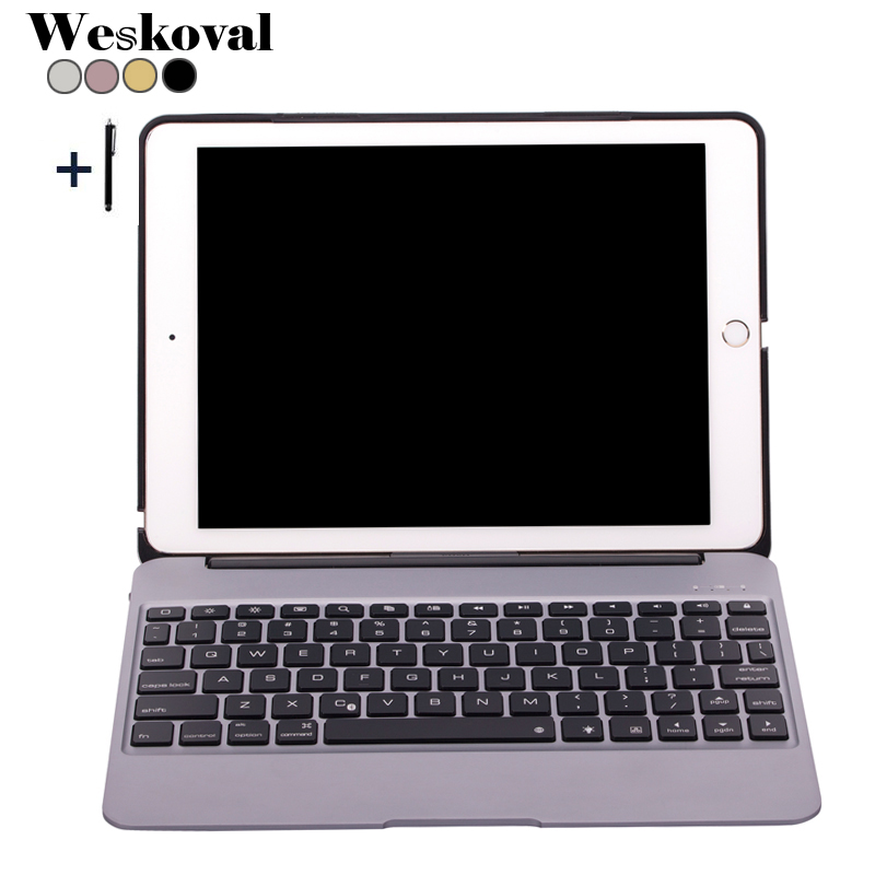 все цены на Bluetooth Keyboard For iPad Air 2 Wireless Keyboard Case For iPad Air 2 Aluminum Alloy Tablet Flip Stand Cover +Pen