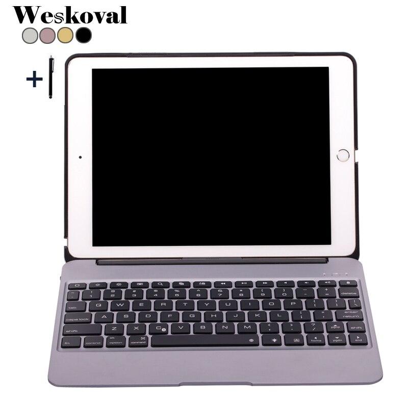 Bluetooth Keyboard For iPad Air 2 Wireless Keyboard Case For iPad Air 2 Aluminum Alloy Tablet Flip Stand Cover +Pen for ipad air 1 case with keyboard wireless bluetooth keyboard abs plastic stand protective bluetooth keyboard for ipad 5